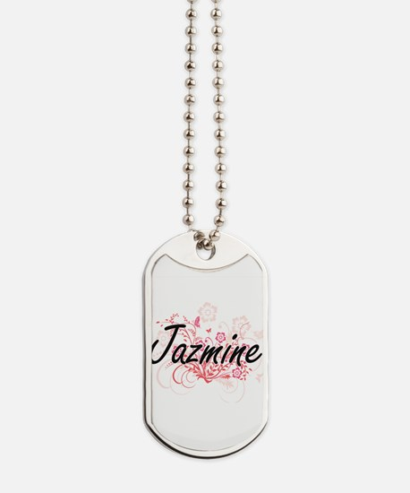 Jazmine Artistic Name Design with Flowers Dog Tags