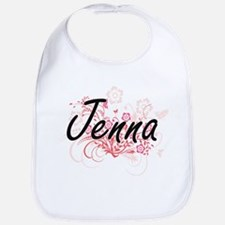 Jenna Artistic Name Design with Flowers Bib