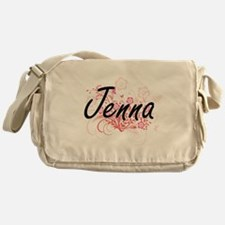 Jenna Artistic Name Design with Flow Messenger Bag