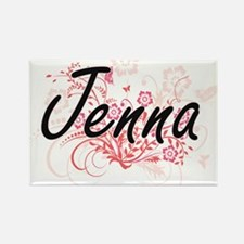 Jenna Artistic Name Design with Flowers Magnets