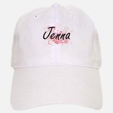 Jenna Artistic Name Design with Flowers Baseball Baseball Cap