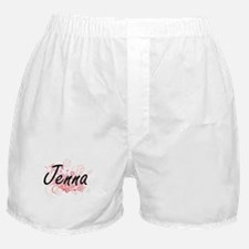 Jenna Artistic Name Design with Flowe Boxer Shorts