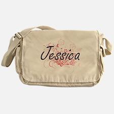 Jessica Artistic Name Design with Fl Messenger Bag