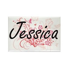 Jessica Artistic Name Design with Flowers Magnets