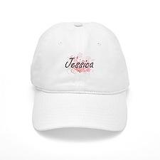 Jessica Artistic Name Design with Flowers Cap