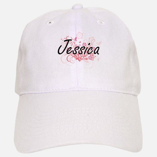 Jessica Artistic Name Design with Flowers Cap