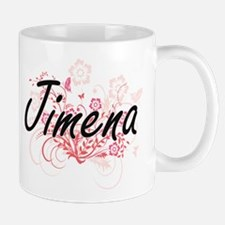 Jimena Artistic Name Design with Flowers Mugs