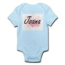 Joana Artistic Name Design with Flowers Body Suit