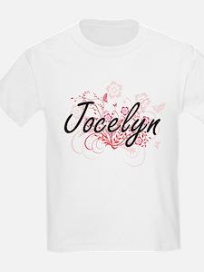 Jocelyn Artistic Name Design with Flowers T-Shirt