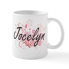 Jocelyn Artistic Name Design with Flowers Mugs