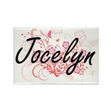 Jocelyn Artistic Name Design with Flowers Magnets