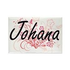 Johana Artistic Name Design with Flowers Magnets