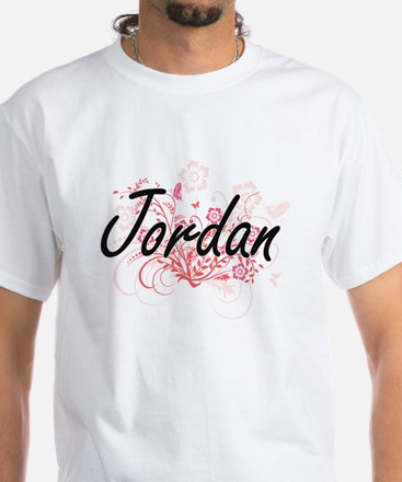 Jordan Artistic Name Design with Flowers T-Shirt