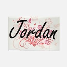 Jordan Artistic Name Design with Flowers Magnets