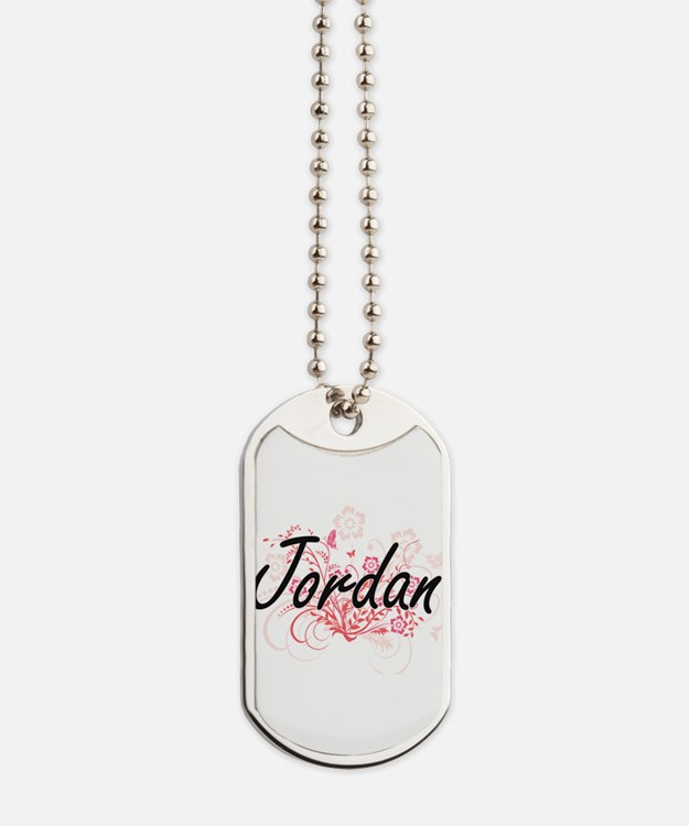 Jordan Artistic Name Design with Flowers Dog Tags