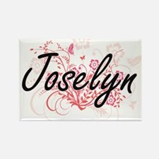 Joselyn Artistic Name Design with Flowers Magnets