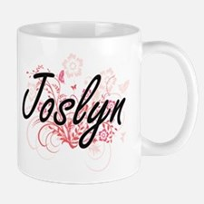 Joslyn Artistic Name Design with Flowers Mugs