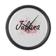Juliana Artistic Name Design with Large Wall Clock