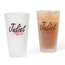 Juliet Artistic Name Design with Fl Drinking Glass