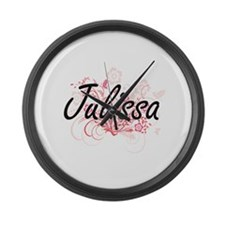 Julissa Artistic Name Design with Large Wall Clock