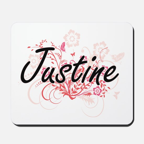 Justine Artistic Name Design with Flower Mousepad