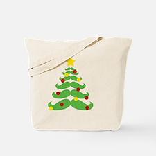 Cute Mustache christmas tree Tote Bag