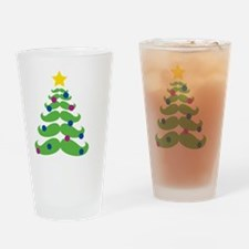 Funny Mustache christmas tree Drinking Glass