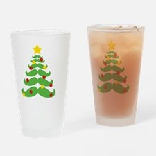 Cute Mustache christmas tree Drinking Glass