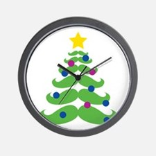 Merry Hipster Christmas Wall Clock