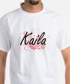Kaila Artistic Name Design with Flowers T-Shirt