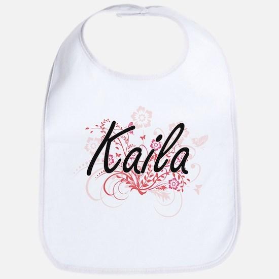 Kaila Artistic Name Design with Flowers Bib