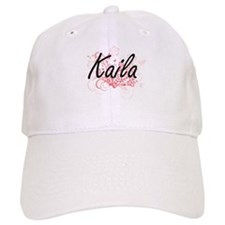 Kaila Artistic Name Design with Flowers Baseball Cap