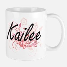 Kailee Artistic Name Design with Flowers Mugs