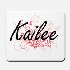 Kailee Artistic Name Design with Flowers Mousepad