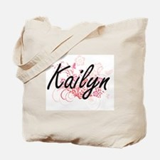 Kailyn Artistic Name Design with Flowers Tote Bag