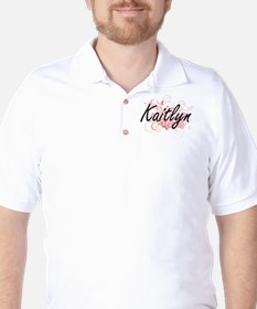 Kaitlyn Artistic Name Design with Flowe Golf Shirt