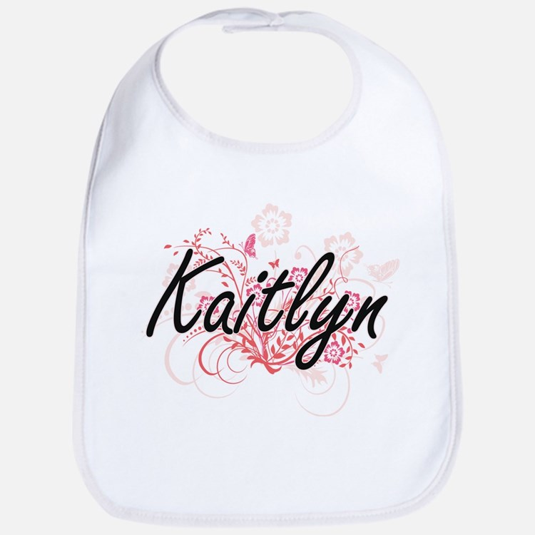 Kaitlyn Artistic Name Design with Flowers Bib