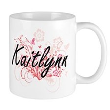 Kaitlynn Artistic Name Design with Flowers Mugs