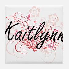 Kaitlynn Artistic Name Design with Fl Tile Coaster
