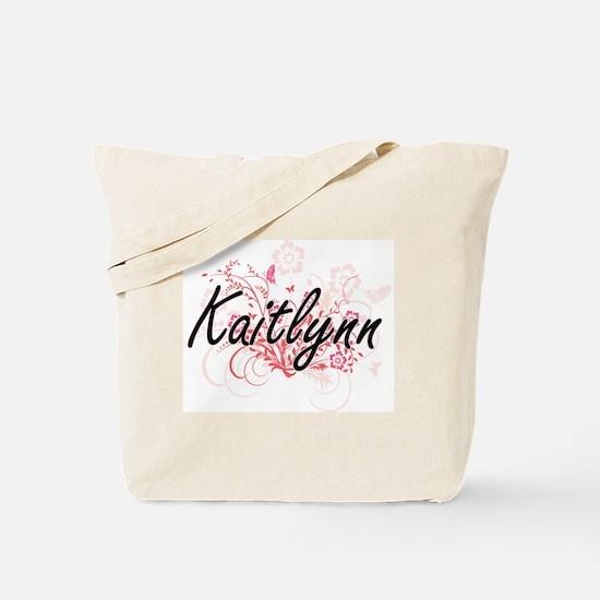 Kaitlynn Artistic Name Design with Flower Tote Bag