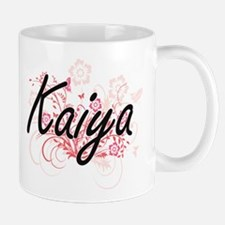 Kaiya Artistic Name Design with Flowers Mugs