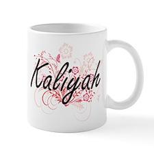 Kaliyah Artistic Name Design with Flowers Mugs