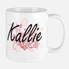 Kallie Artistic Name Design with Flowers Mugs