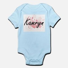 Kamryn Artistic Name Design with Flowers Body Suit