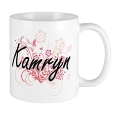 Kamryn Artistic Name Design with Flowers Mugs