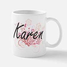 Karen Artistic Name Design with Flowers Mugs