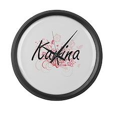 Karina Artistic Name Design with Large Wall Clock