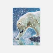 A polar bear at the water 5'x7'Area Rug