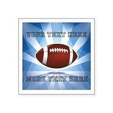 "Personalized Football Square Sticker 3"" x 3"""