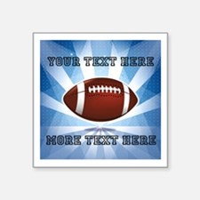 "Personalized Football Square Sticker 3"" x 3"""